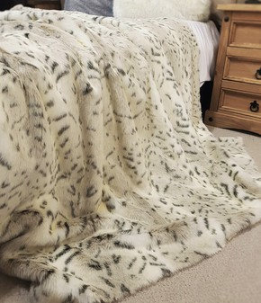 Snow Lynx Faux Fur Throw