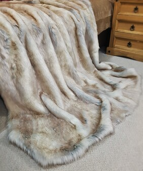 SALE Snow Wolf Faux Fur Throw with Graphite Velboa