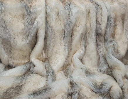 Snow Wolf Faux Fur Fabric Per Meter