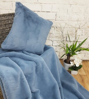 SALE Blue Softee Faux Fur Throw & Cushion