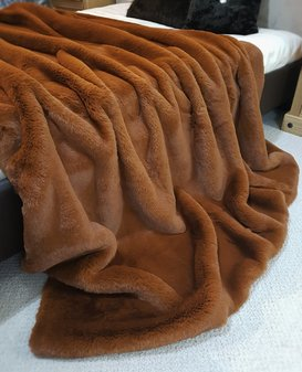 SALE Large Autumn Leaves Faux Fur Throw with Mocha Velboa