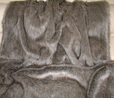 SALE Medium Timber Wolf Faux Fur with Graphite Velboa