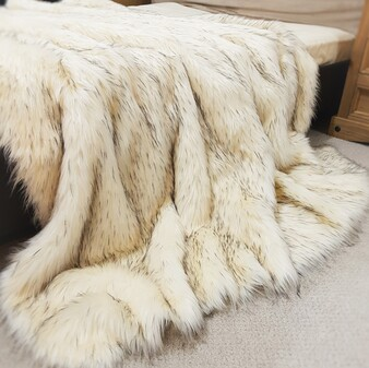 SALE Tissavel Himalaya Faux Fur Throw with Cream Velboa
