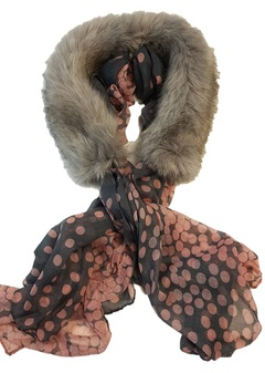 Tissavel Tundra Wolf Cream Faux Fur and Silk Scarf Collar