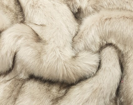Tissavel Tundra Wolf Cream Faux Fur Fabric SECONDS Per Meter