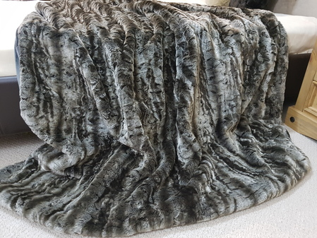 SALE Medium Vintage Silver Astra Faux Fur Throw with Charcoal Faux Suede