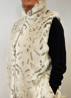 Snow Lynx Faux Fur Long Gilet