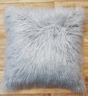 Mongolian Silver Faux Fur Cushions
