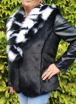Black Mink and Houndstooth Faux Fur Pom Pom Collar Gilet