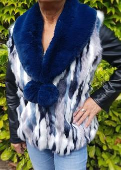 Tissavel Harlequin and Petrol Blue Faux Fur Pom Pom Collar Gilet