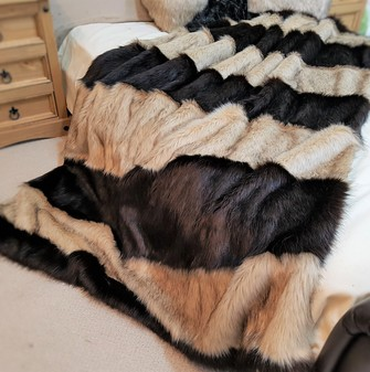 SALE Large Coco & Fawn Musquash Faux Fur Striped Throw 2m long x 1.5m