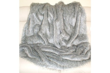 SALE Bed Runer Silver Musquash with Dove Grey Velboa