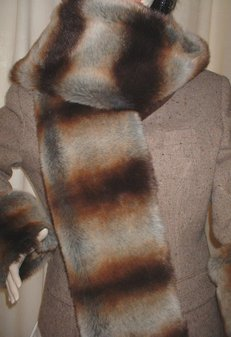Golden Brown Chinchilla Faux Fur Scarf
