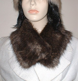 Brown Bear Faux Fur Long Collar