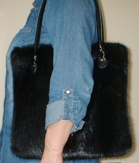 Black Mink Faux Fur Bag