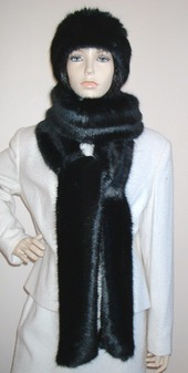 Black Mink Faux Fur Super Long Scarf