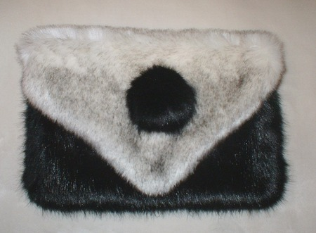 Polar Fox & Black Mink Faux Fur Clutch Bag