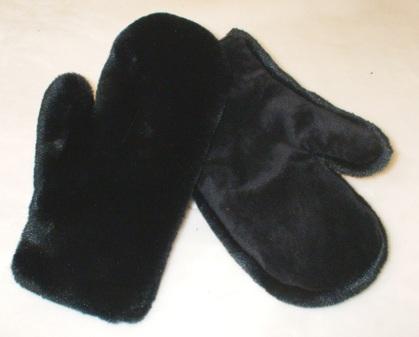 Black Moleskin Faux Fur Mittens