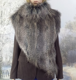 Grey Wolf Faux Fur Huntress Cowl