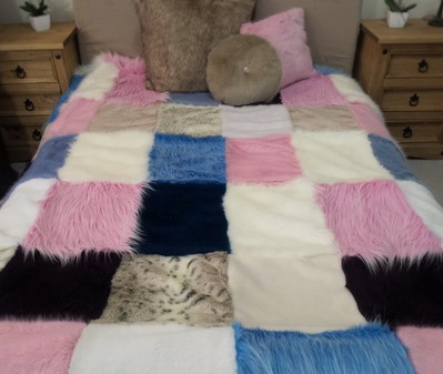 Multi Coloured Harlequin Faux Fur Patchwork Throw