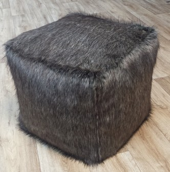 Timber Wolf Faux Fur Pouffes