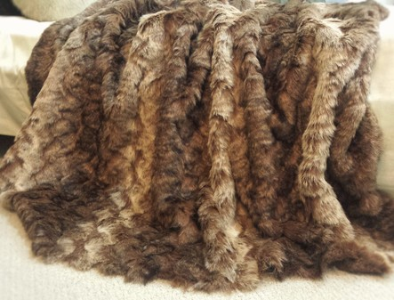 SALE Romanov Faux Fur Throw with Chocolate Velboa