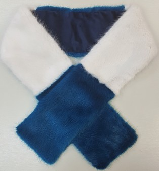Azure and White Faux Fur Team Scarf