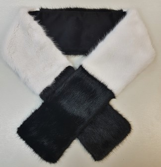 Black and White Faux Fur Team Scarf