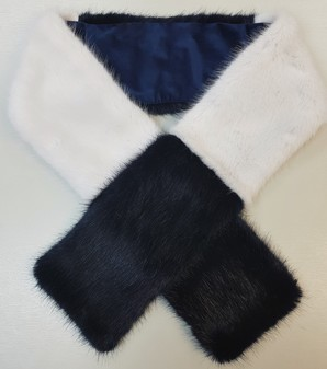 Midnight Navy and White Faux Fur Team Scarf