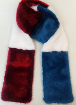 Ruby, Azure and White Faux Fur Team Scarf