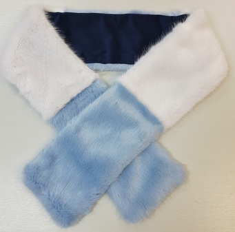 Powder Blue and White Faux Fur Team Scarf