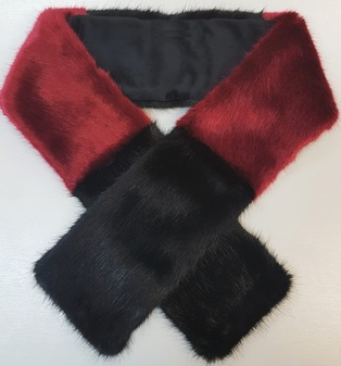 Ruby and Black Faux Fur Team Scarf