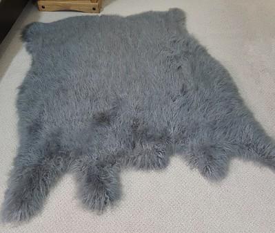 Mongolian Grey Faux Fur Animal Shape Rug