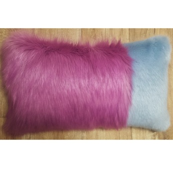 Powder Blue and Lilac Faux Fur Colour Block Cushion