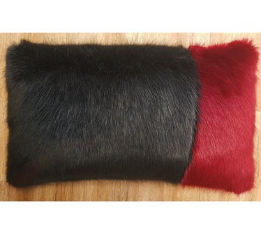 Charcoal and Ruby Mink Faux Fur Colour Block Cushion