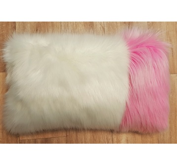Polar Bear and Candy Faux Fur Colour Block Cushion