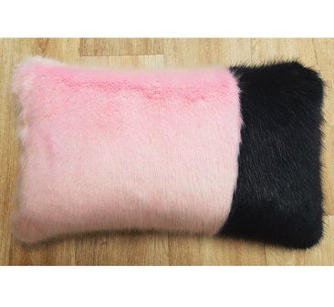Raspberry Cream and Midnight Navy Faux Fur Colour Block Cushion