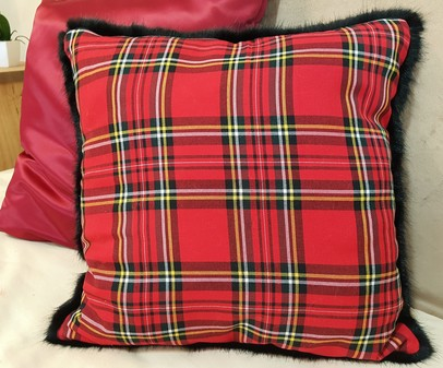 Red Tartan and Black Mink Faux Fur Cushion