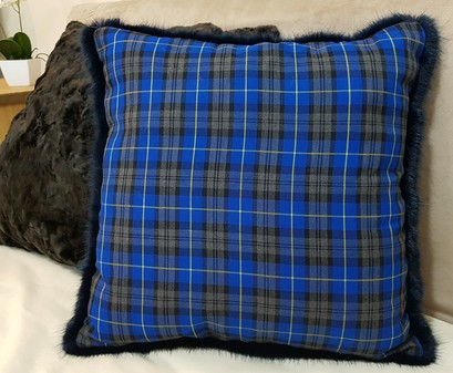 Blue Tartan and Midnight Navy Blue Faux Fur Cushion
