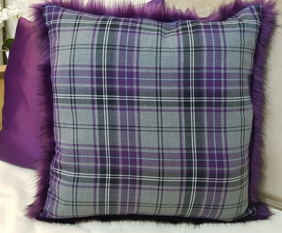 Silver Tartan and Amethyst Faux Fur Cushion