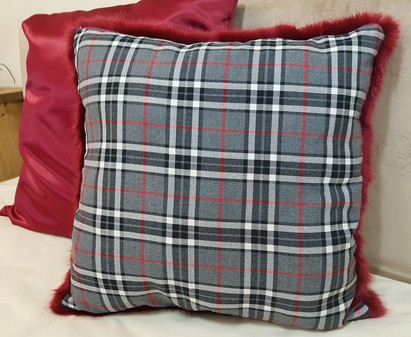 Grey Tartan and Ruby Red Faux Fur Cushion