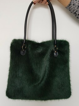 Hunter Green Faux Fur Bag