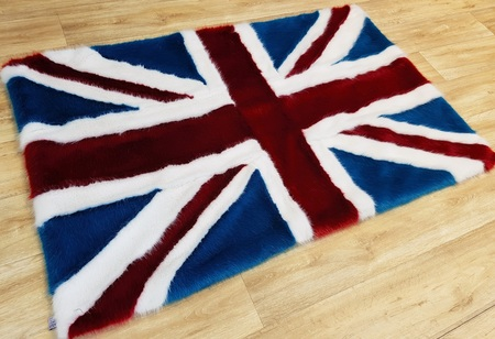 Faux Fur Union Jack Flag