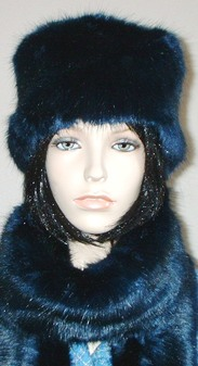 Midnight Navy Blue Faux Fur Hat