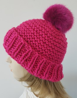 Hot Pink Knitted Bobble Hats