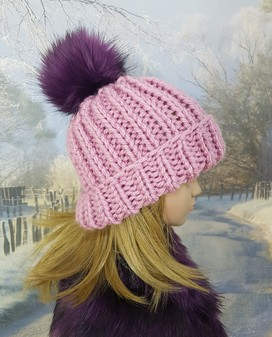 Dusky Pink Knitted Bobble Hats