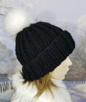 Black Knitted Bobble Hats