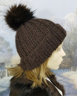 Chocolate Brown Knitted Bobble Hats