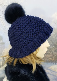Navy Blue Knitted Bobble Hats