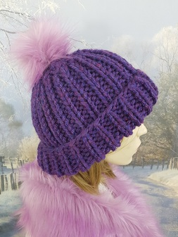 Heather Knitted Bobble Hats